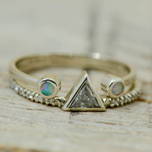 Wedding Ring Set: Brushed Metal, Yellow Gold, Antler, Triangle Diamond; 3 Overlays 8mm and Engagement