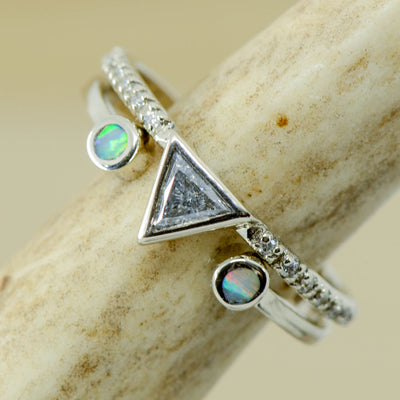White Gold Triangle Diamond with White Opal Split Stacking Band