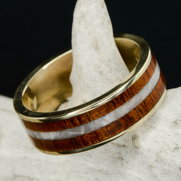 Koa Wood & Mother of Pearl in Tungsten or Ceramic Channel