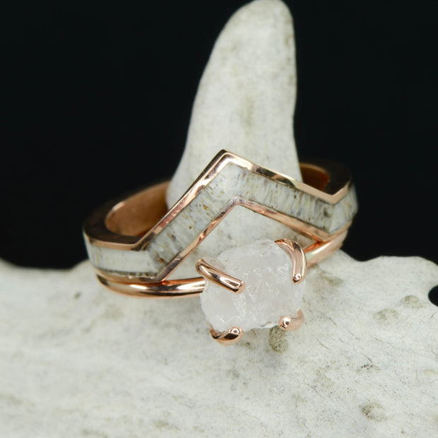 Rose Gold, Raw Rough Cut Quartz with Antler V Ring Stacking Band