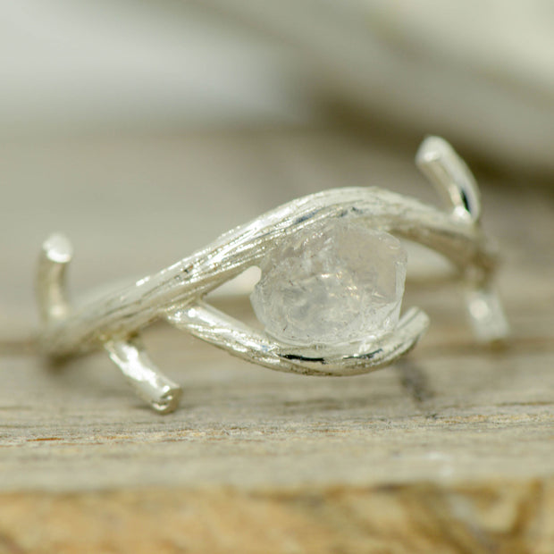 Tree Branch Ring with Raw Cut Quartz