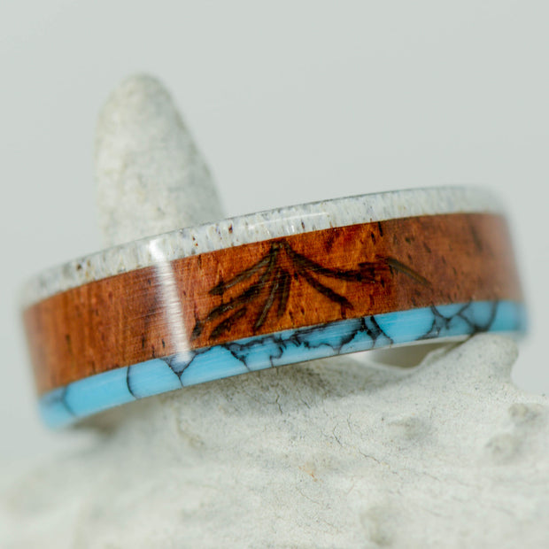 Elk Antler, Rosewood, & Turquoise with Engraved Mount Doom