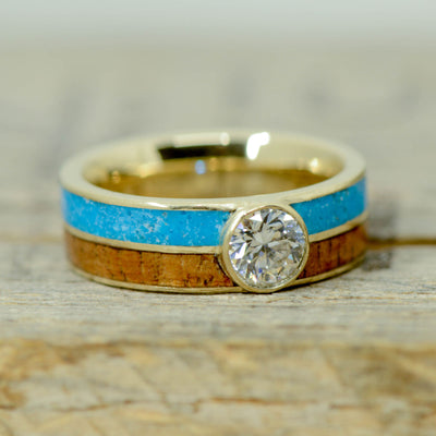 Gold, Round Diamond, Koa Wood, & Turquoise
