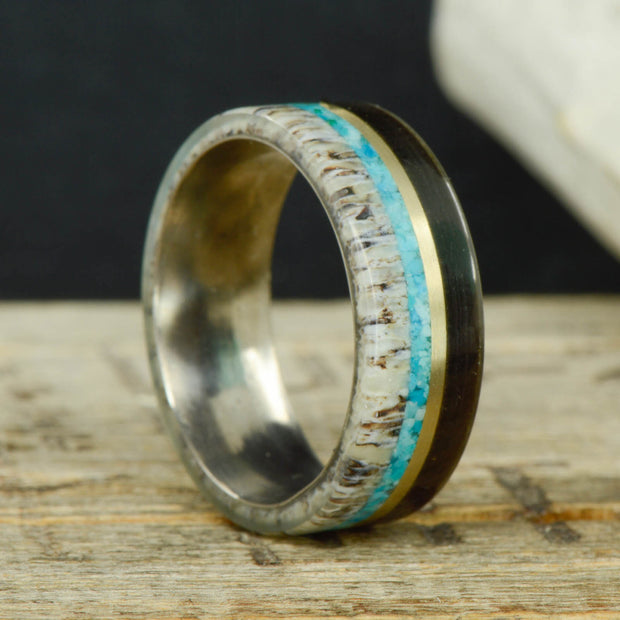 Buffalo Tusk, Yellow Gold, Turquoise, & Antler ***