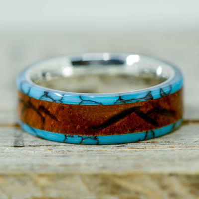 Turquoise & Rosewood with Engraved Mountains