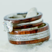 Walnut, Antler, Diamond Setting, & Metal Pinstripes