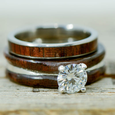 Diamond Solitaire Ring and Walnut with Walnut Stacking Band