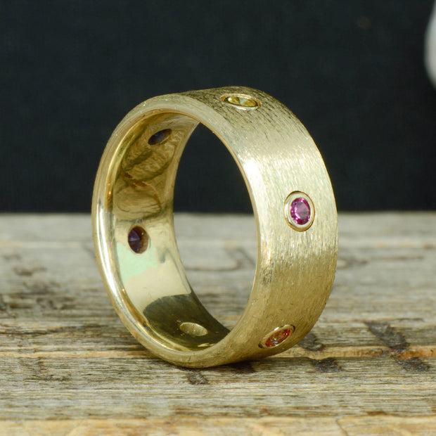 Endgame Infinity Gauntlet Ring, Brushed Yellow Gold, & Gemstones ***