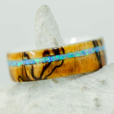 Spalted Maple & Offset Blue Opal