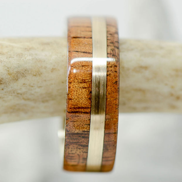 Koa Wood with an Offset Yellow Gold Inlay
