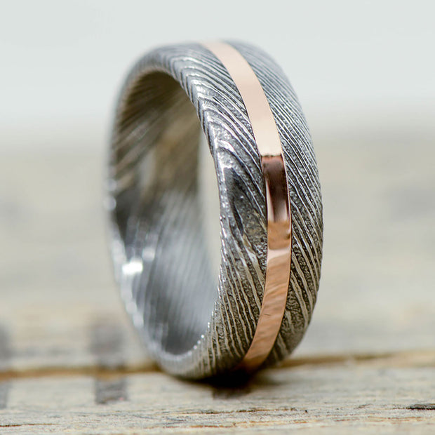 Damascus Steel & Rose Gold 6mm