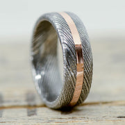 Damascus Steel & Offset Rose Gold