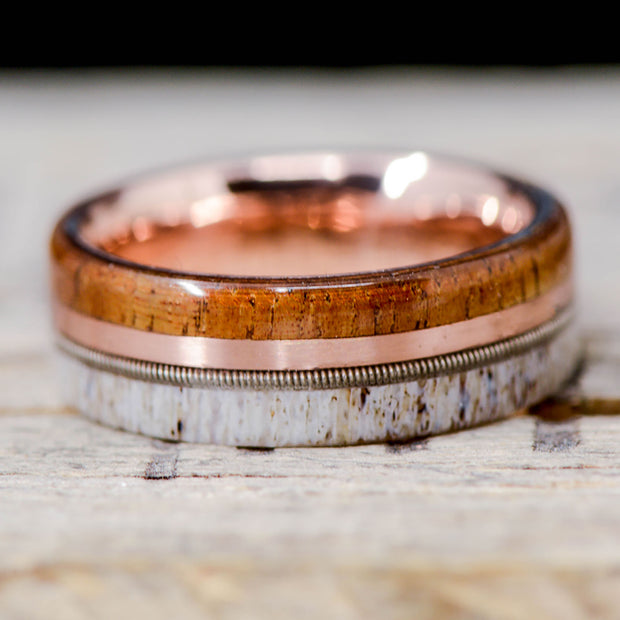 Koa Wood, Rose Gold, Guitar String, & Antler