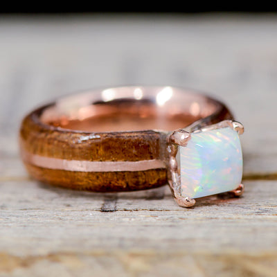 Square Opal, Koa Wood, & Rose Gold