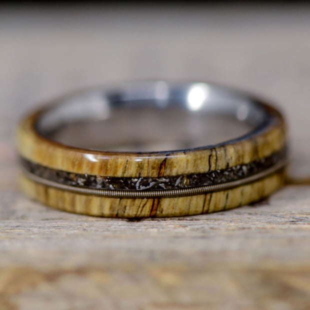 Spalted Maple, Guitar String, & Crushed Meteorite