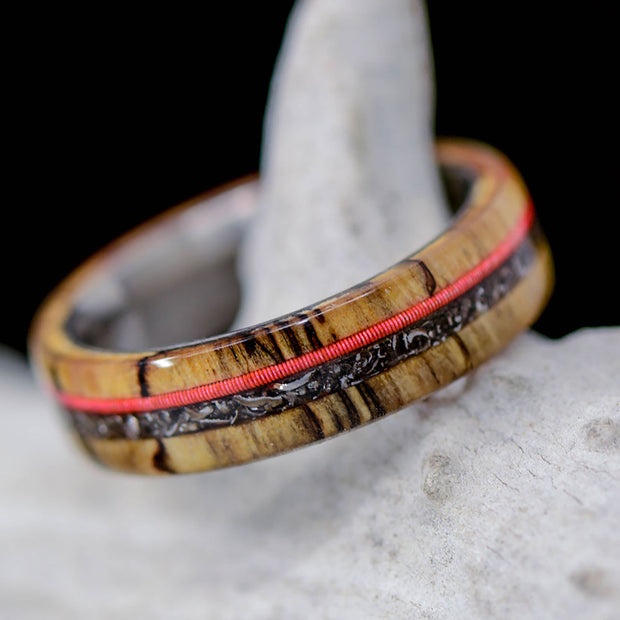 Spalted Maple, Red Neon Guitar String, & Crushed Meteorite ***