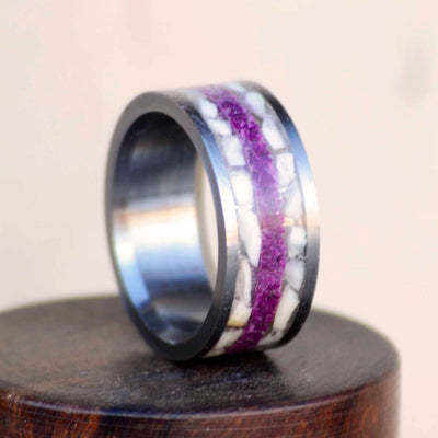 Crushed Elk Ivory & Sugilite in Tungsten or Ceramic Channel