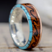 Rose Gold, Rosewood, Turquoise, & Engraved Ocean Waves ***