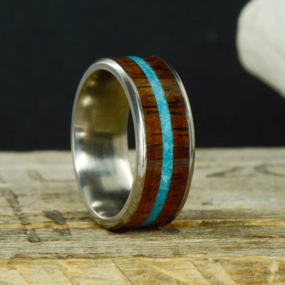 Koa Wood & Turquoise in Tungsten or Ceramic Channel ***