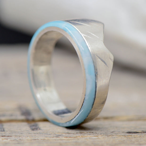 Larimar Mountain Ring in Silver or Gold