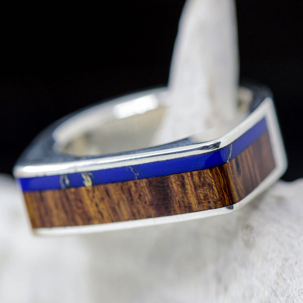 Half Square Ring, Ironwood, & Blue Lapis