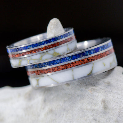 4th of July - Lapis, Red Opal, & Marble with Gold Matrix
