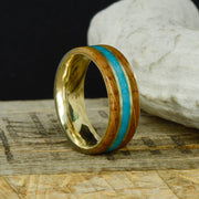 Jack Daniels Barrel, Turquoise, & Yellow Gold Pinstripes