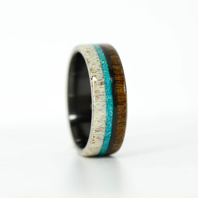 SALE RING - Black Zirconium, Walnut, Turquoise, & Elk Antler - Size 12.5