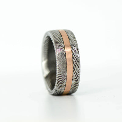 SALE RING - Rose Gold in Damascus Steel 8mm - Size 7