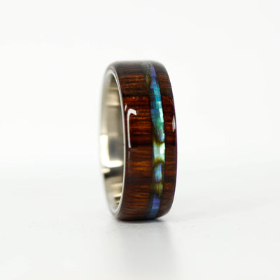 SALE RING - Desert Ironwood & Abalone Shell - Size 10