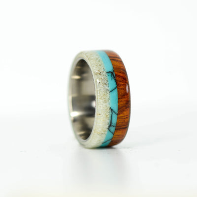 SALE RING -  Ironwood, Turquoise, & Antler - Size 6.75