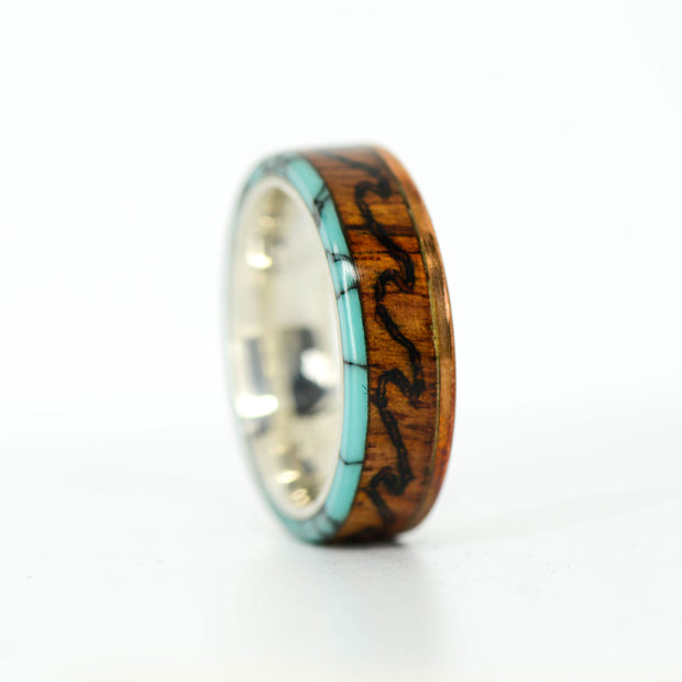 SALE RING - Copper, Rosewood, Turquoise, & Engraved Ocean Waves - Size 10.5