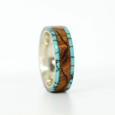 SALE RING - Silver, Turquoise & Rosewood with Engraved Mountains - Size 10