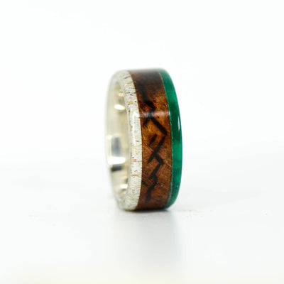 SALE RING - Silver, Rosewood, Imperial Jade, & Antler with Engraved Mountains - Size 6