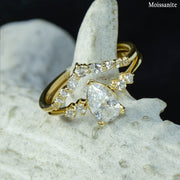 Pear Solitaire Ring with Diamond Stacking Band