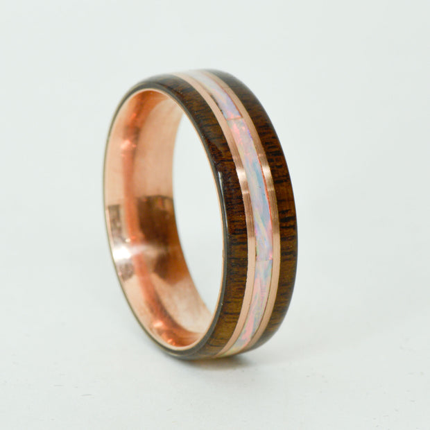 SALE RING -  Rose Gold, Walnut, White Opal - Size 15