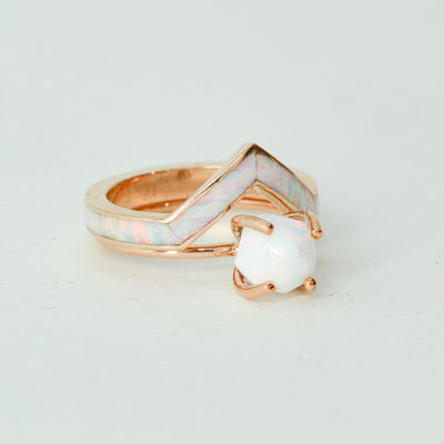 SALE RING - Rose Gold, White Opal - Size 6.25