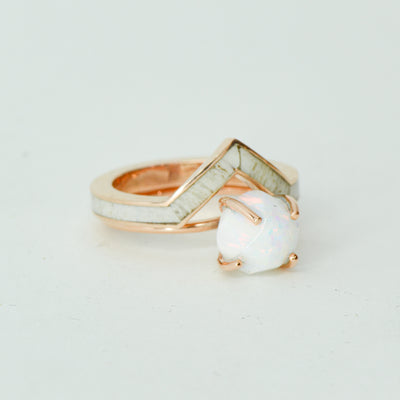 SALE RING - Rose Gold, White Opal, Antler - Size 6.5