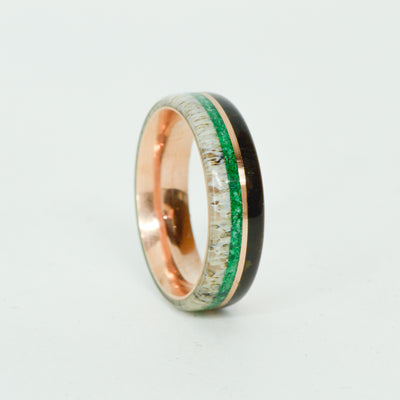 SALE RING -  Rose Gold, Buffalo Tusk, Malachite, Antler - Size 7.5