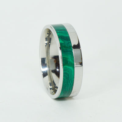 SALE RING -  Stainless Steel, Malachite - Size 12.75