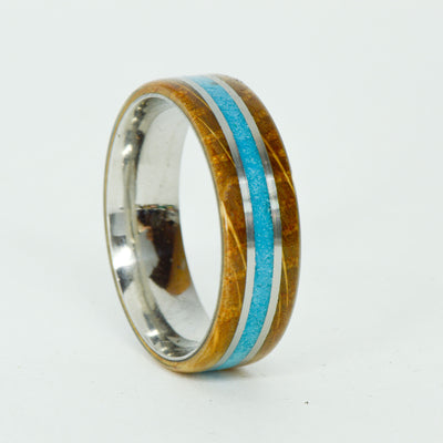 SALE RING -  Stainless Steel, Turquoise, Jack Daniels Barrel Wood - Size 14