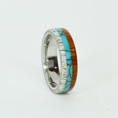 SALE RING -  Stainless Steel, Antler, Turquoise, & Ironwood - Size 8.75