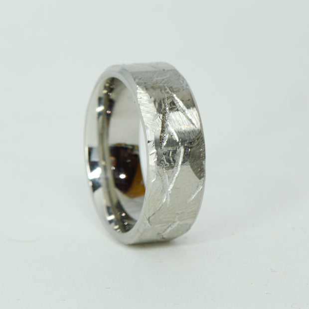 SALE RING -  Stainless Steel Weathered Hammered Ring - Size 9.5