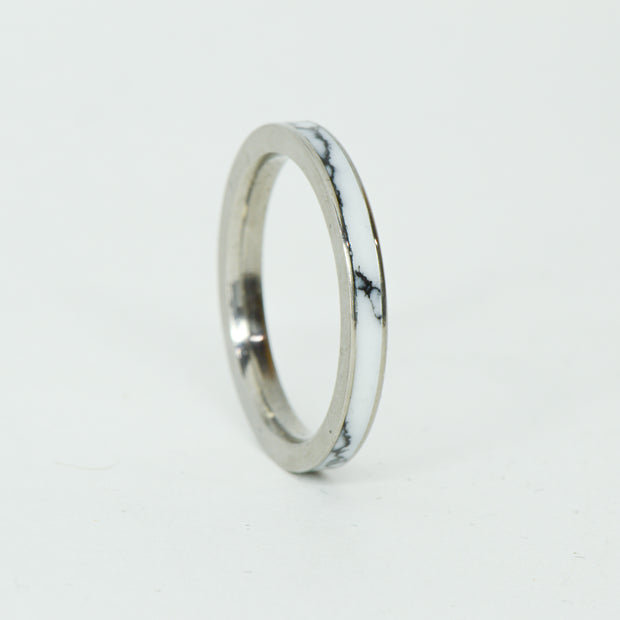 SALE RING - Stainless Steel & White Marble with Black Veins - Size 9