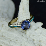 Julia - Solitaire Ring with Turquoise Accents