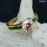 Poppy - Solitaire Ring with Malachite Accents