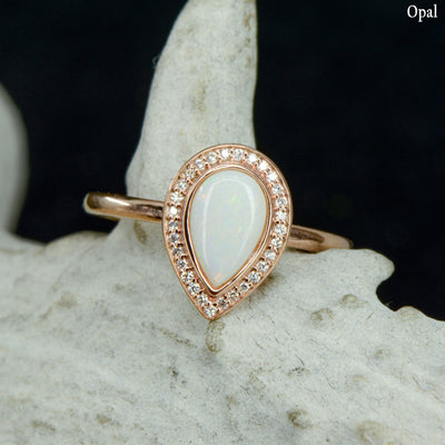 Anali - Pear Halo Ring