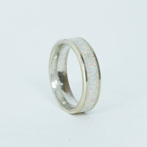 SALE RING -  Silver, White Opal  - Size 8