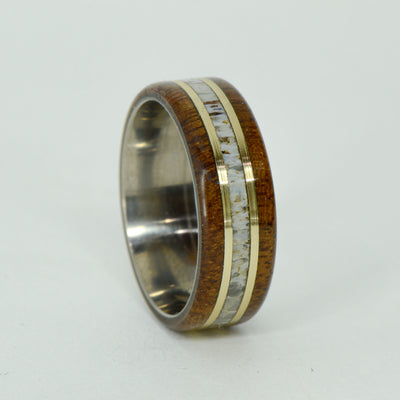 SALE RING -  Titanium, Antler, Walnut, Yellow Gold - Size 10.75