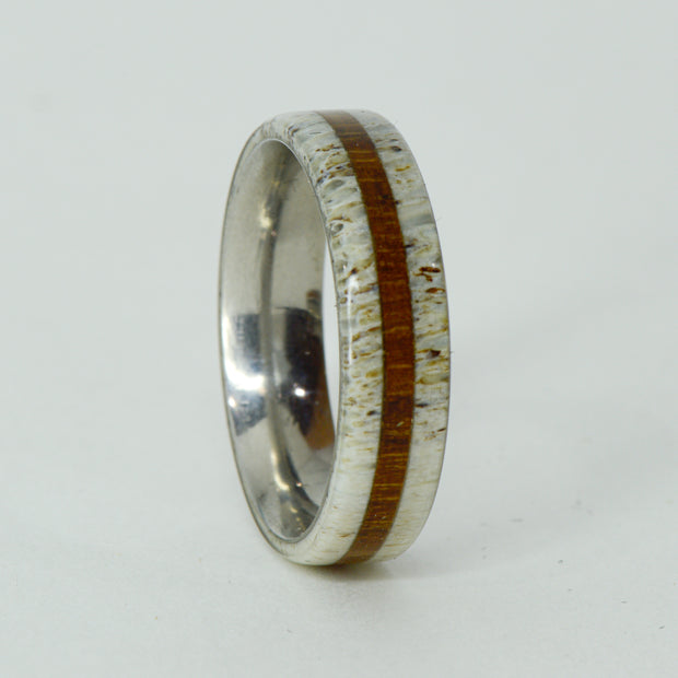 SALE RING -  Titanium, Antler, Teak Wood - Size 10